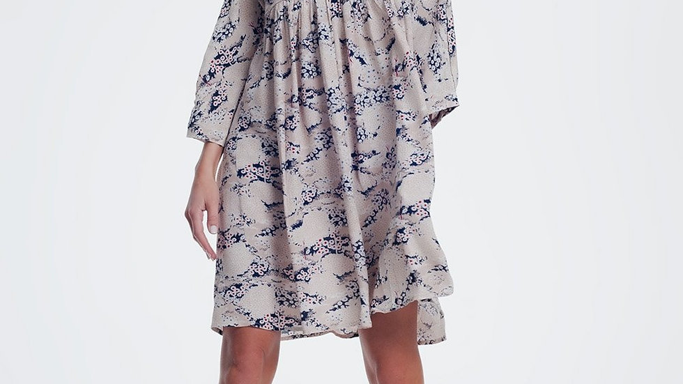 Beige Dress With Floral Print