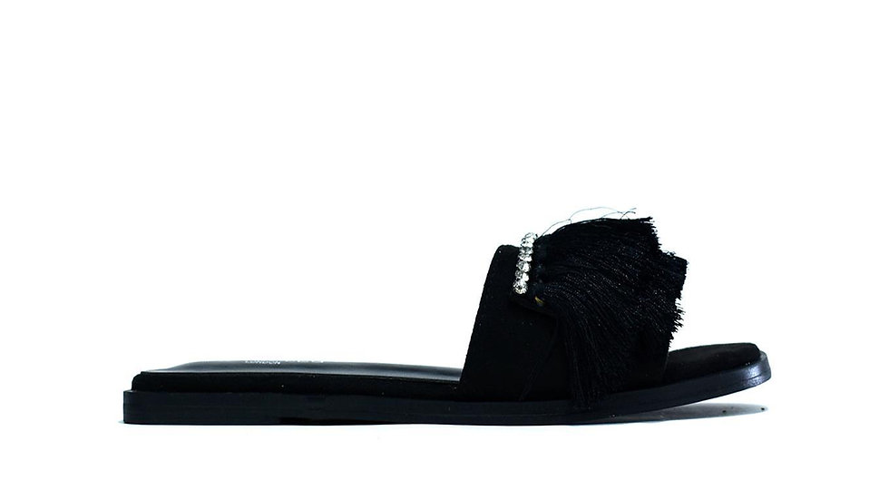 Faux Fur Sliders Black