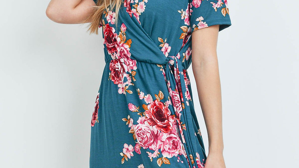 Surplice Neckline Ribbon Detail Floral Dress