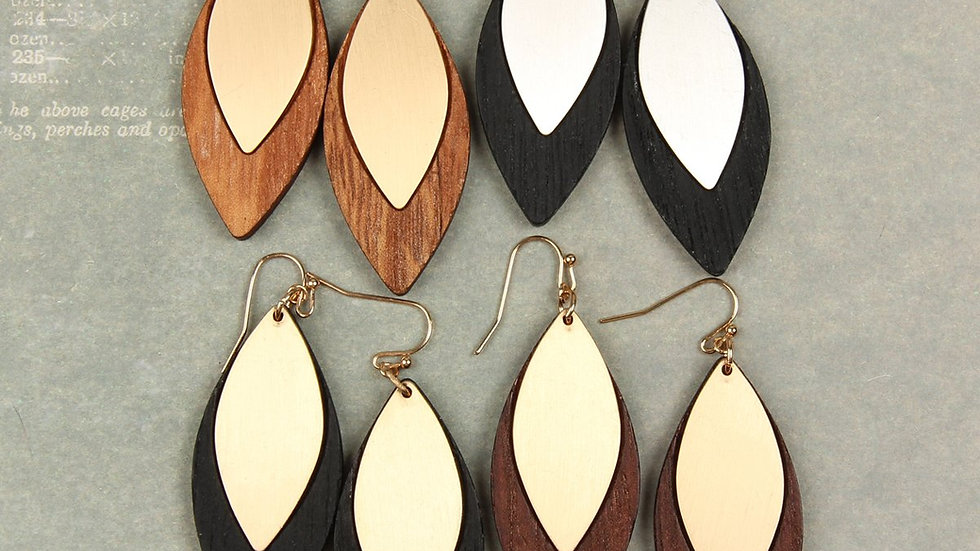 Satin Metal Wood Earrings