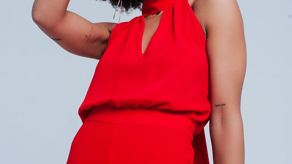 Red Jumpsuit With Back Bow