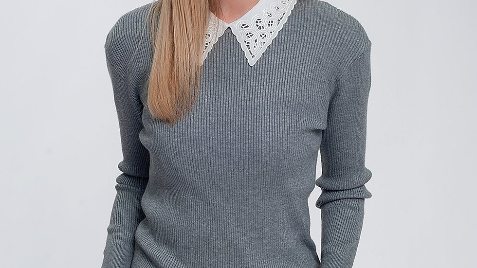 Fitted Jumper in Grey Rib Knit