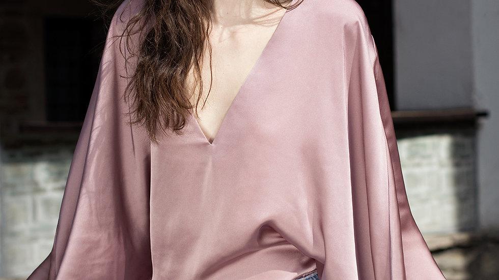 Satin Silk Cape Shirt