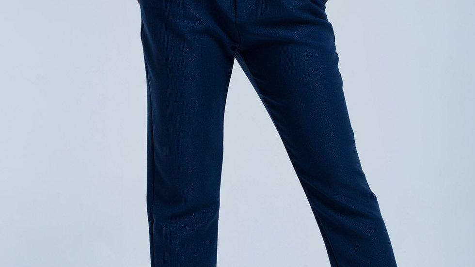 Navy Shiny Pants