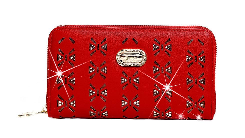 Butterfly Twinkle Star Women's Gold Tone Zip Around Clutch, Wristlet, & Purse