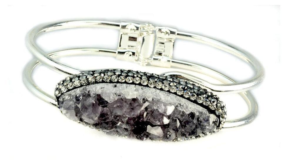 Amethyst Druzy Bracelet in Silver