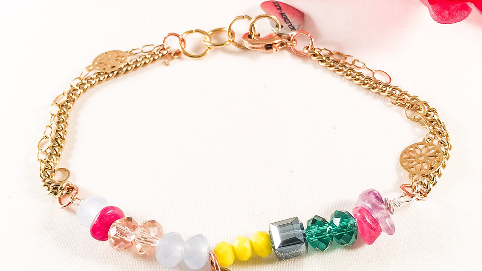 Colourful Beads and Stones Bronze Heart Bracelet