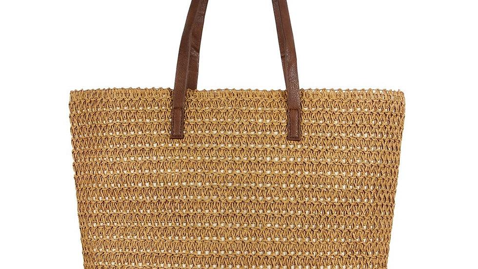 Tan Straw Tote Bag