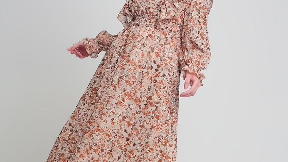 Midi Dress with v Neck Volume Sleeves and Ruffles in Brown Floral Print