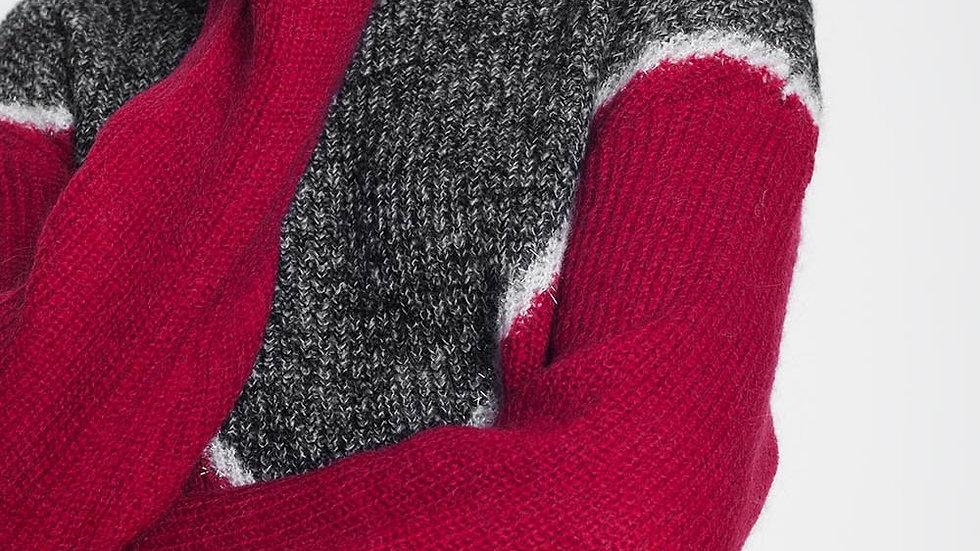 Chevron Colour Block Sweater in Red