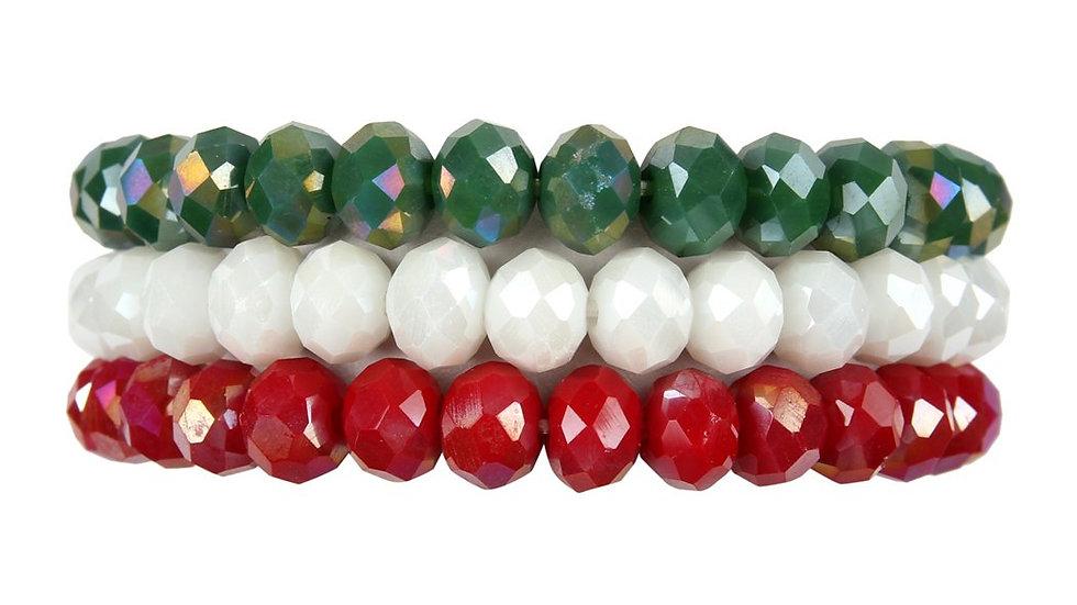 Three Glass Beads Stretch Bracelet