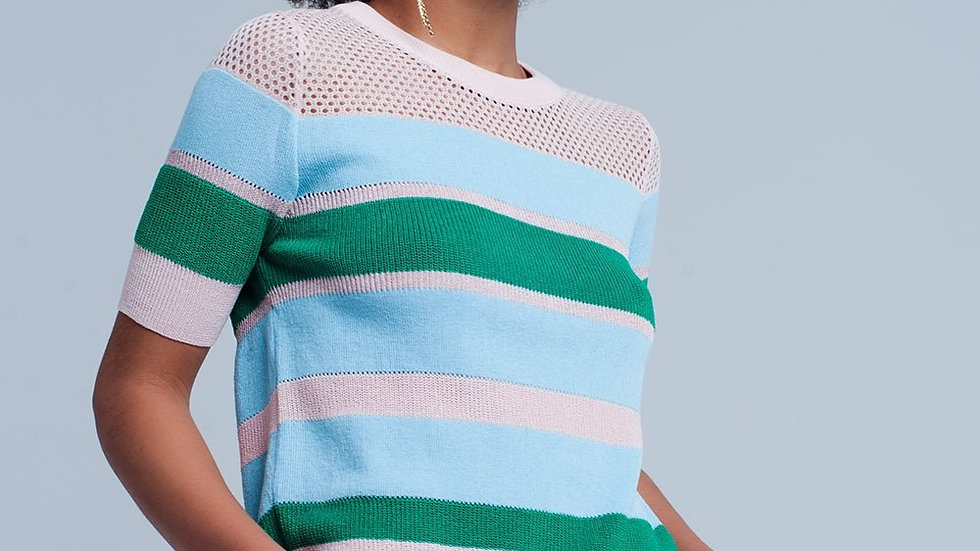 Blue Striped Open Knit Sweater Short Sleeves