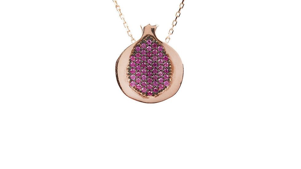 Pomegranate Hidden Gems Necklace Rosegold