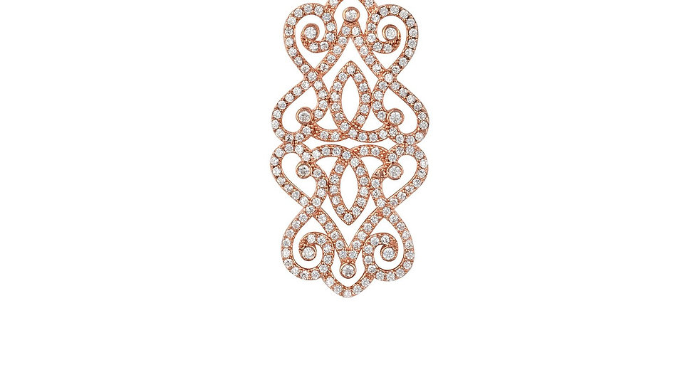 Regal Rose Large Pendant Necklace Rosegold