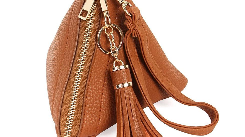 Pyramid Shape Tassel Wristlet Leather Bag
