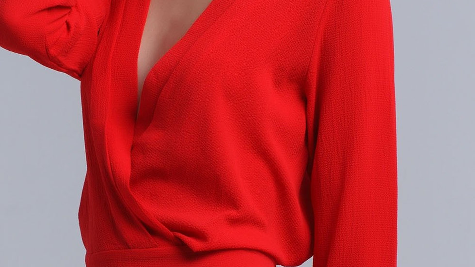 Red Crossed Blouse with Ribbons
