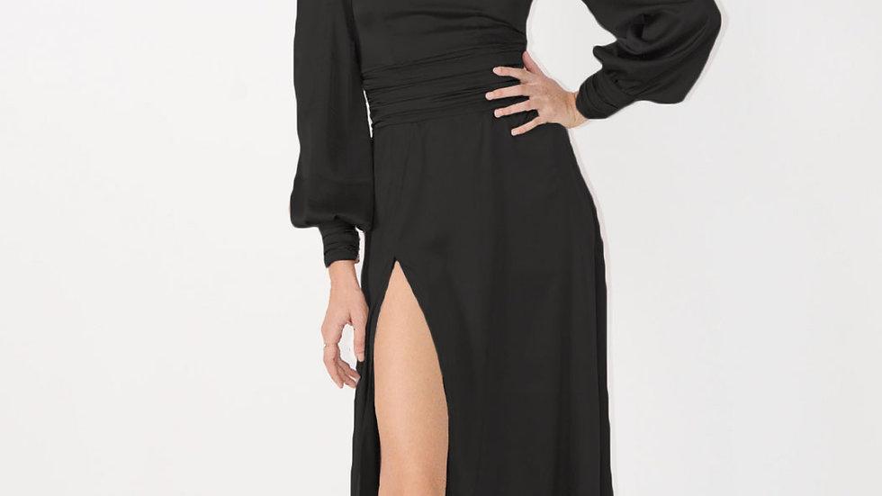 Turtleneck Midi Dress with Long Sleeves