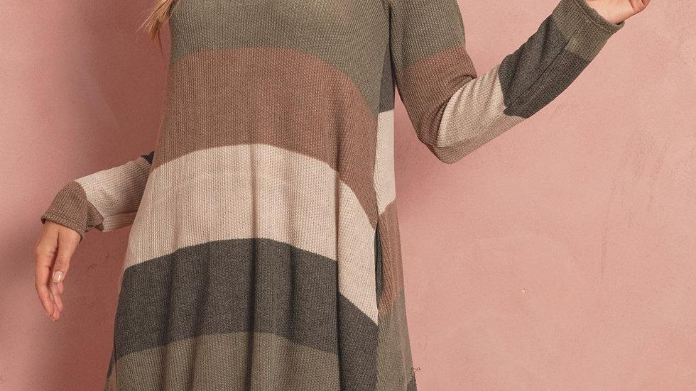 Long Sleeved Rib Stripe Pocket Dress
