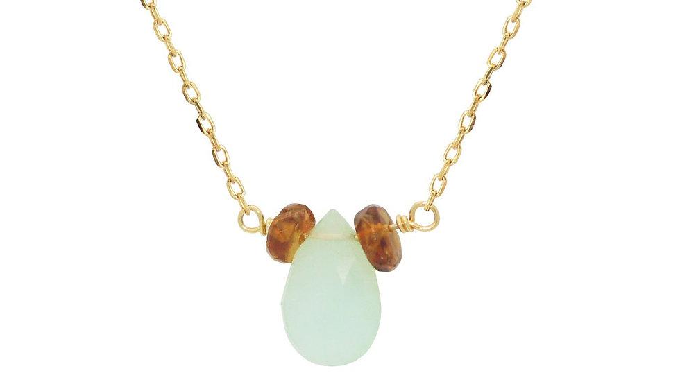 "18k Gold Pl Silver Briolette Peruvian Opal & Mini Garnet Necklace, 16"""