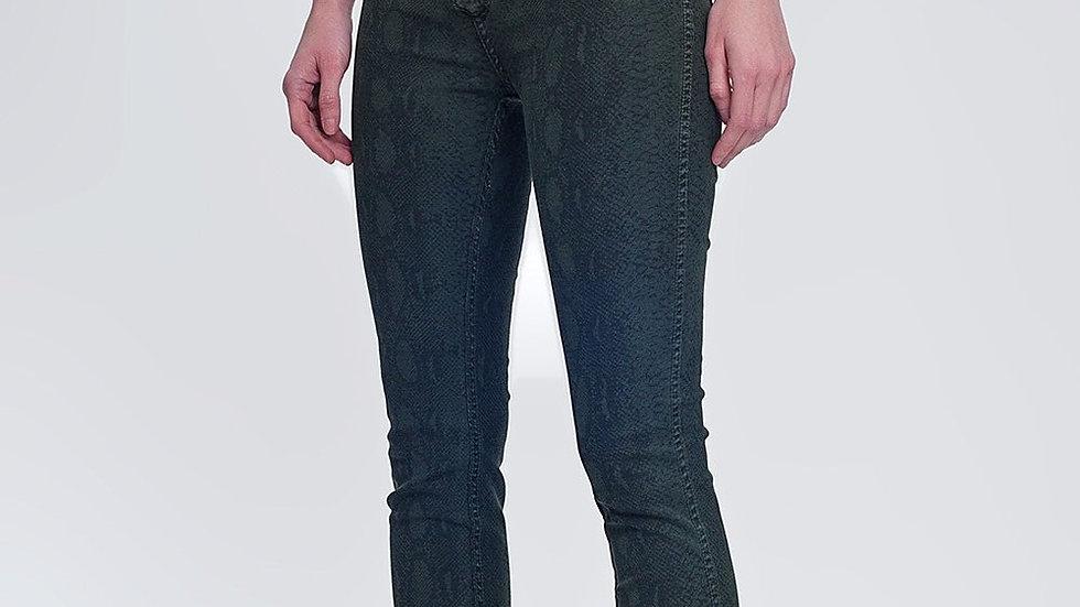 Khaki Super Skinny Reversible Pants