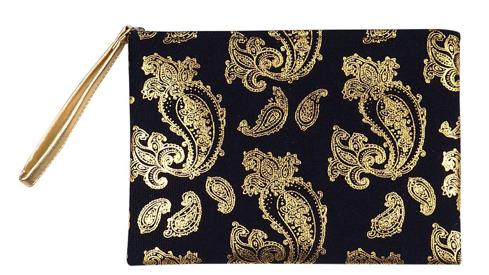 Black Gold Foil Paisley Pouch