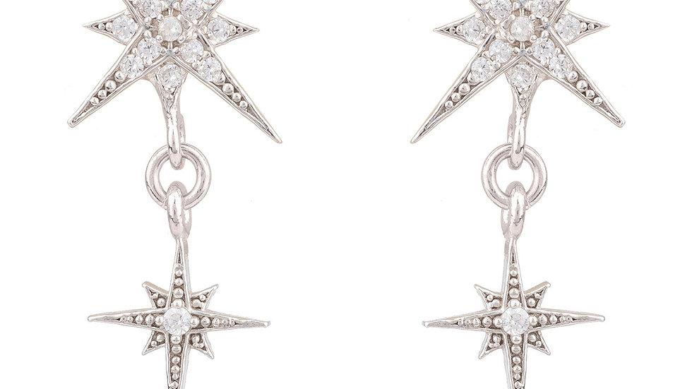 Star Burst Double Drops Earrings Silver