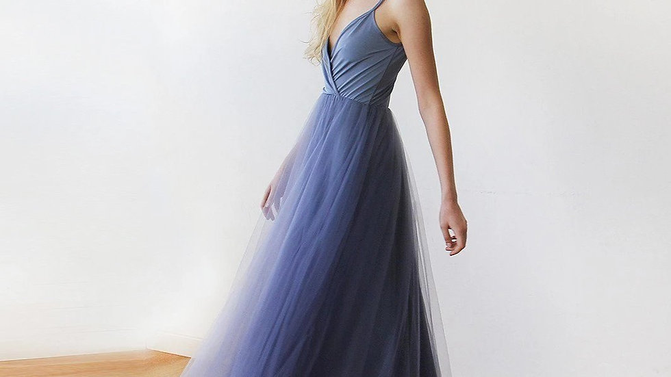 Dusty Blue Straps Maxi Tulle Dress