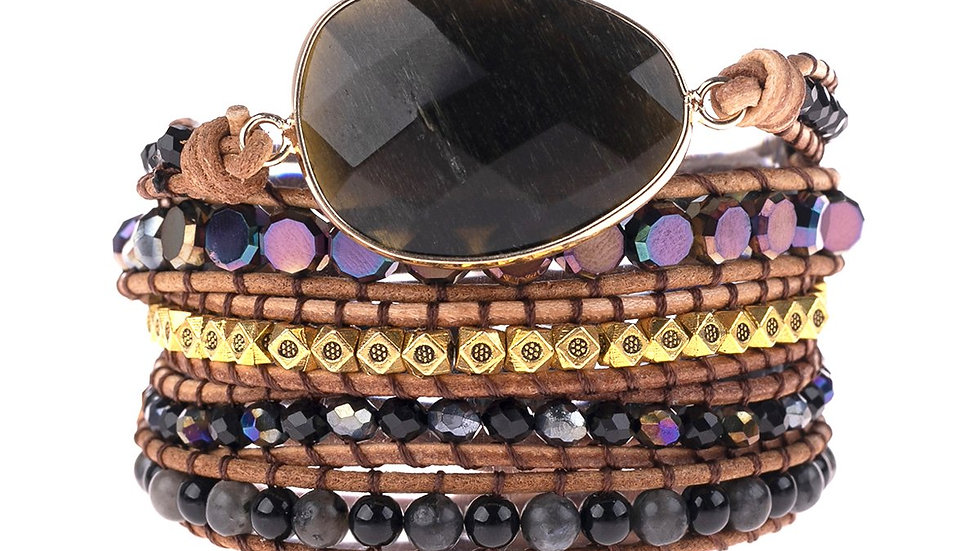 Natural Stone Charm Multibeads Bracelet