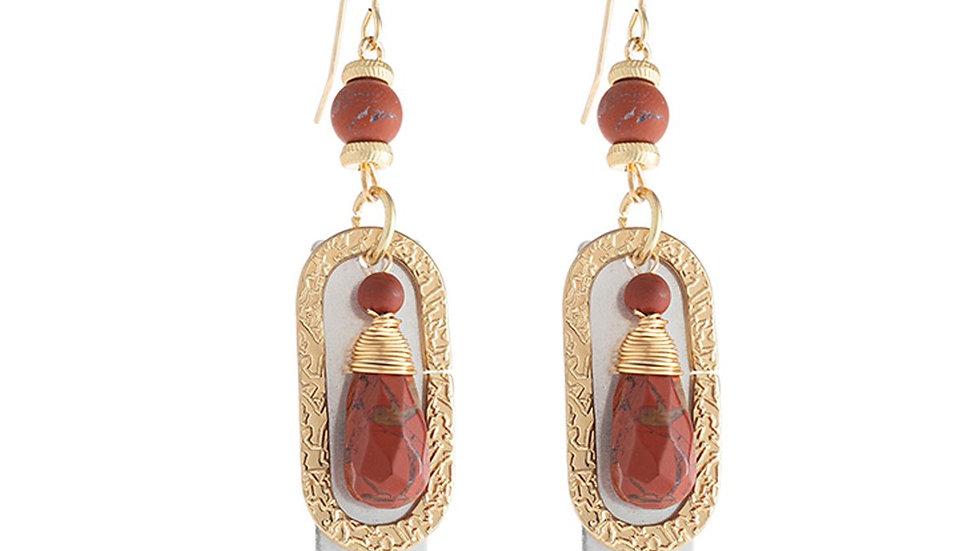 Stone Charm Drop Earrings