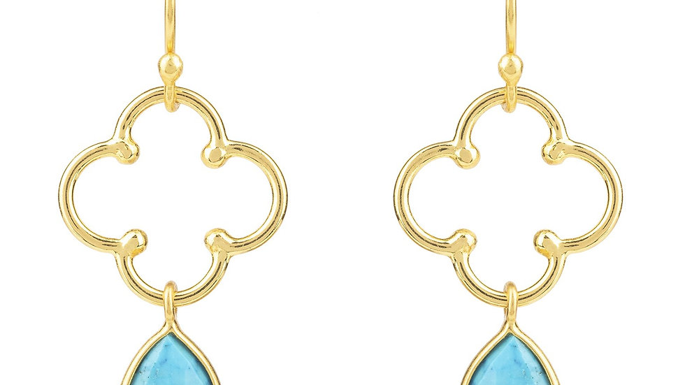 Open Clover Gemstone Drop Earring Gold Turquoise
