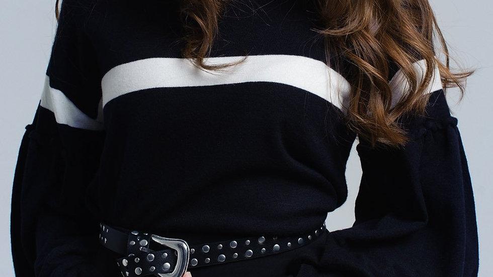 Black Sweater with White Stripe