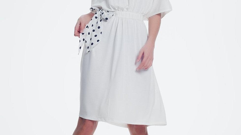 Cream Dress With Half Stretching Waistband