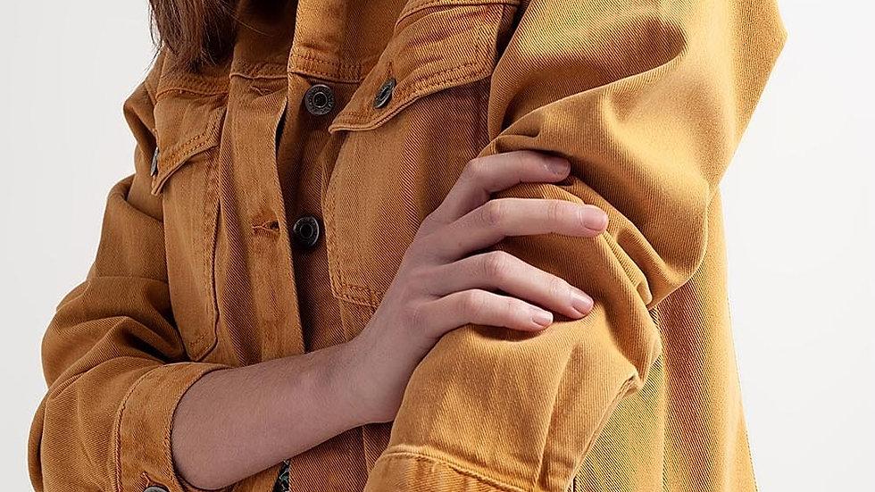 Raw Hem Denim Jacket in Mustard