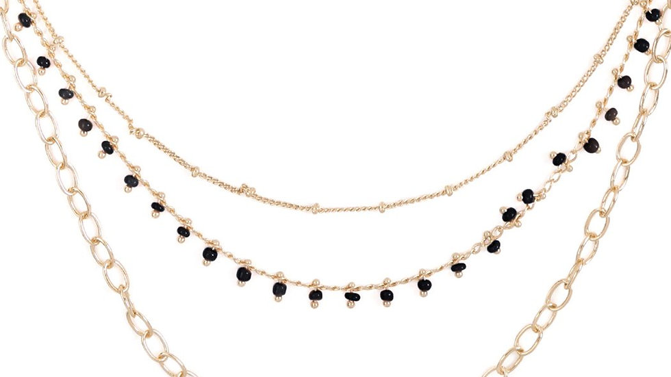 Three Layered Chain Dainty Beads Necklace