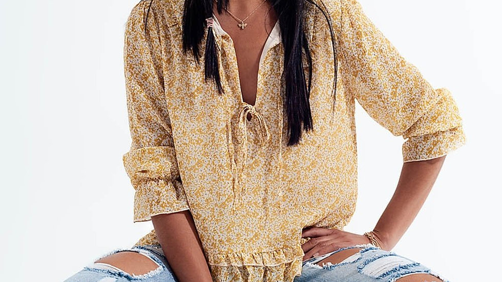 Tie Front Chiffon Blouse in Yellow Floral Print
