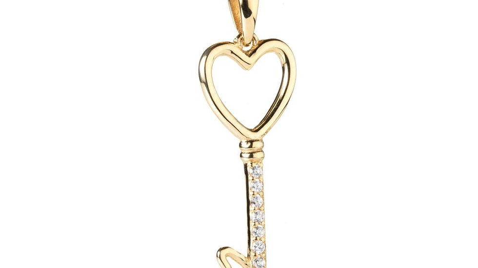 Gold Crystal Key 2 My Heart Pendant Necklace