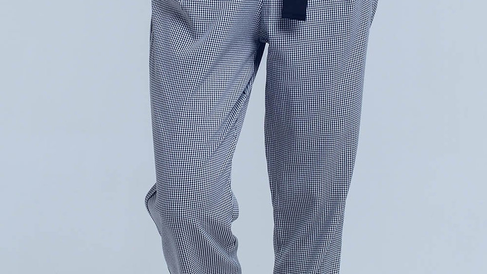 Black Pants in Pique Fabric with Buckle Detail