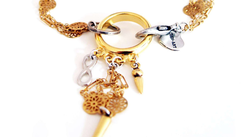 Multi Chain Gold Flower Bracelet With Studs
