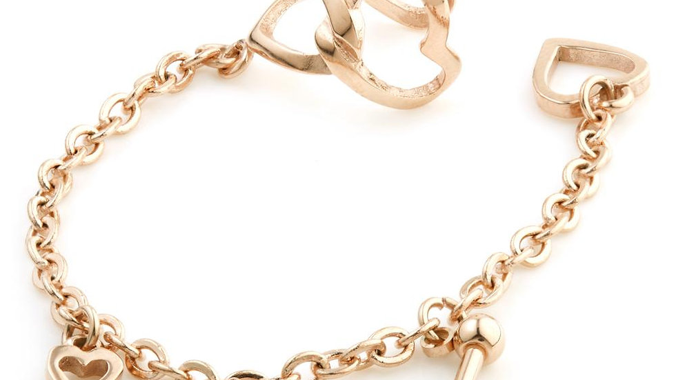 Rose Gold Ball Stud & Heart Chain Ear Cuff