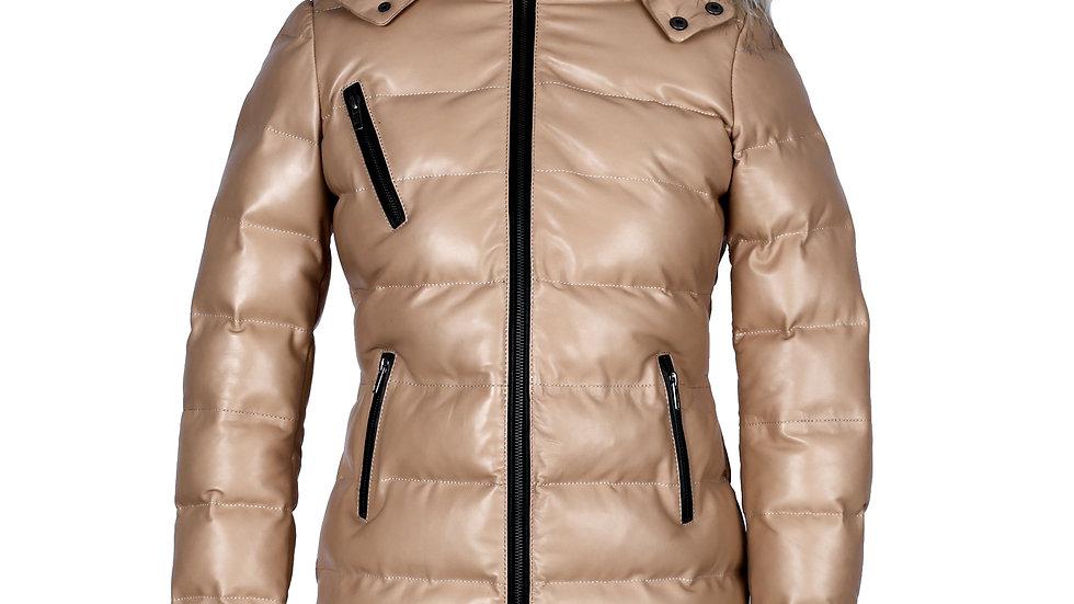 Lightweight Puffer Quilt Jacket With Fur Collar