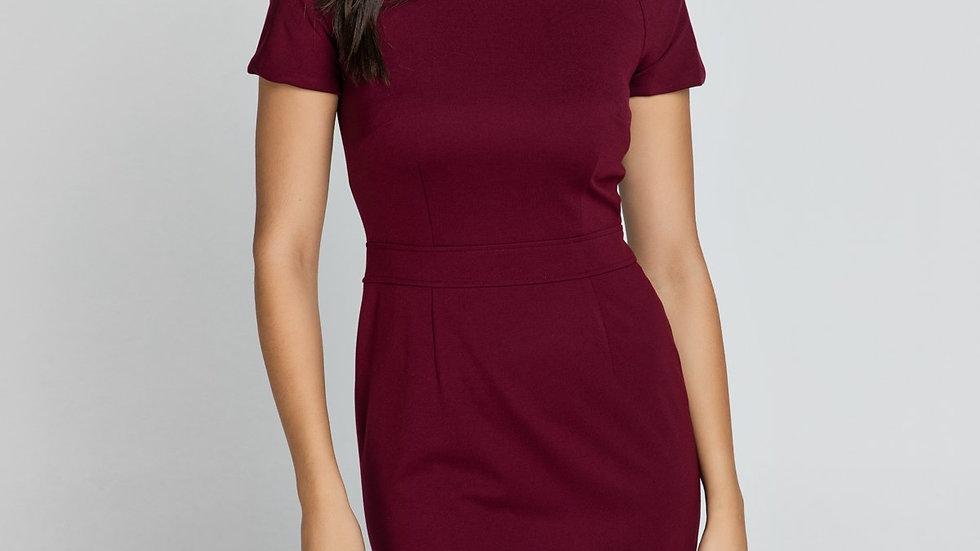Fitted Burgundy Cap Sleeve Dress