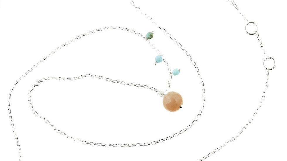 Maia Silver Choker With Peach Moonstone and Turquoise