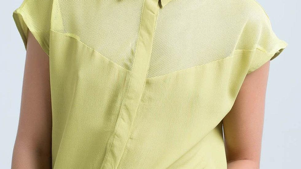 Yellow Shirt with Mesh Detail