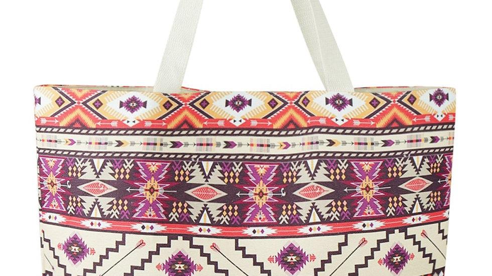 Red Bean Aztec Pattern Tote Bag