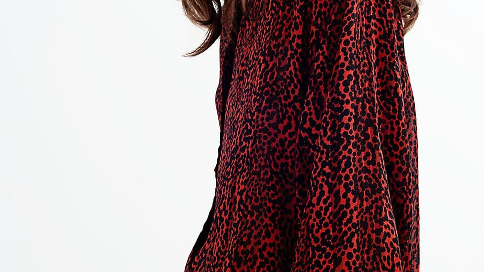 Shirt with Blouson Sleeves in Sheer Animal Print