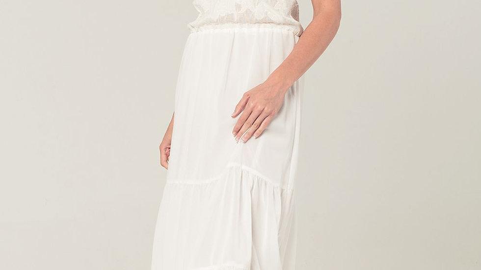 Crochet Detail Dress in White