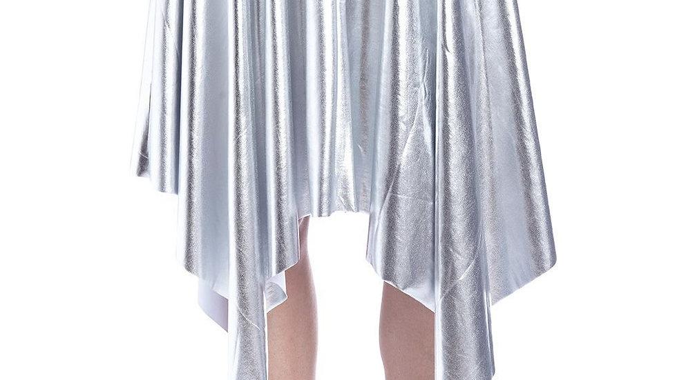 Silver Pleated Midi Skirt in Metallic