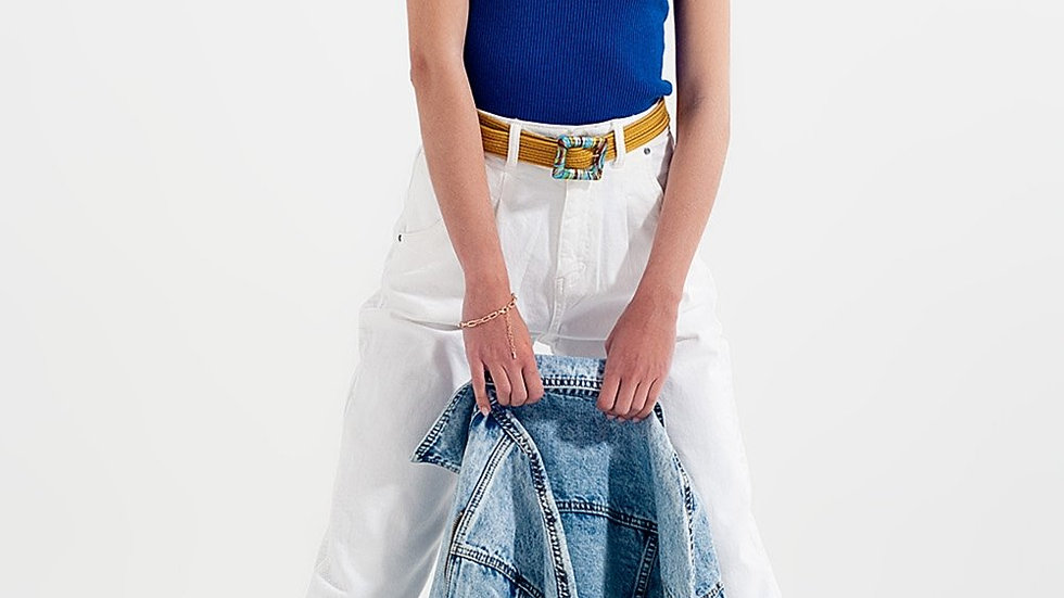 High Rise Mum Jeans with Pleat Front in White
