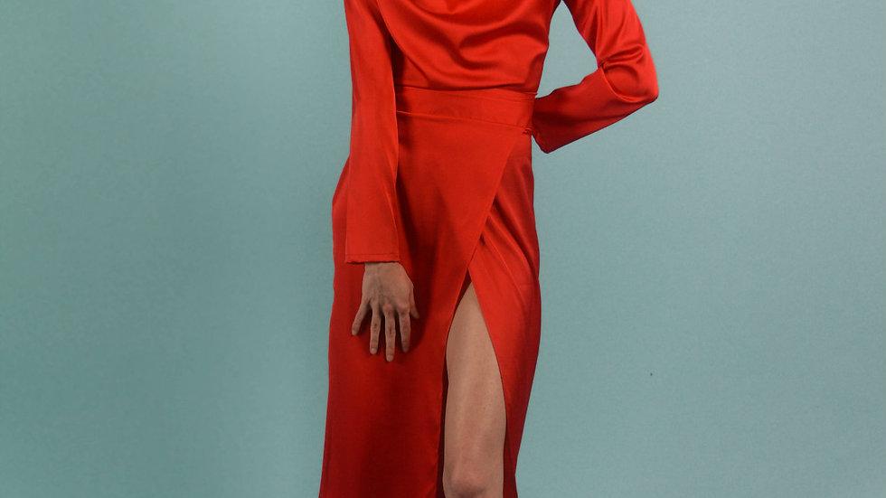 Red Silk Turtleneck Draped Midi Dress
