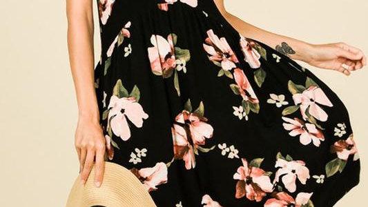 Short-Sleeve Floral Print Dress
